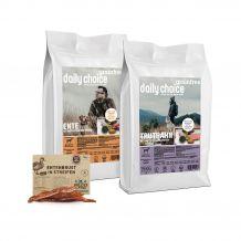 daily choice - Hundefutter - Premium Paket Grainfree mit 2 x 15kg Trockenfutter + Wildes Land Snack