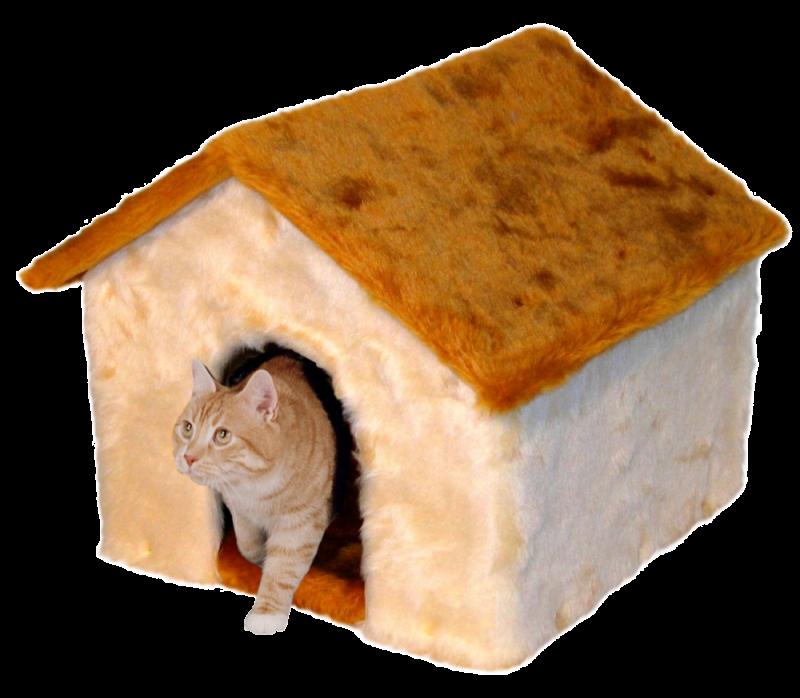 SILVIO DESIGN | Katzenhaus mit Plüschdach beige-honig