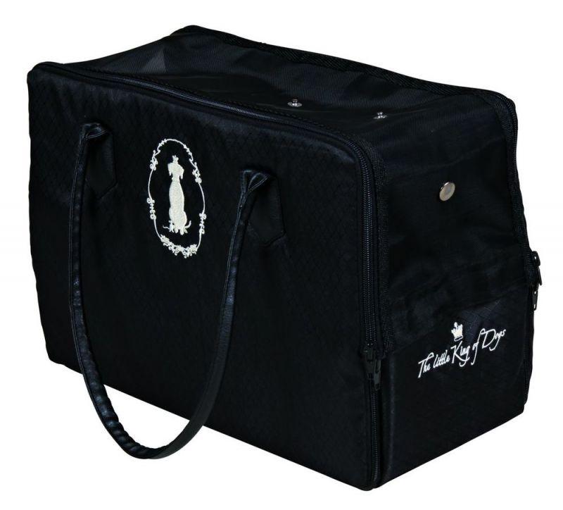 Trixie | Hundekönig Tasche, Nylon Plüsch, schwarz