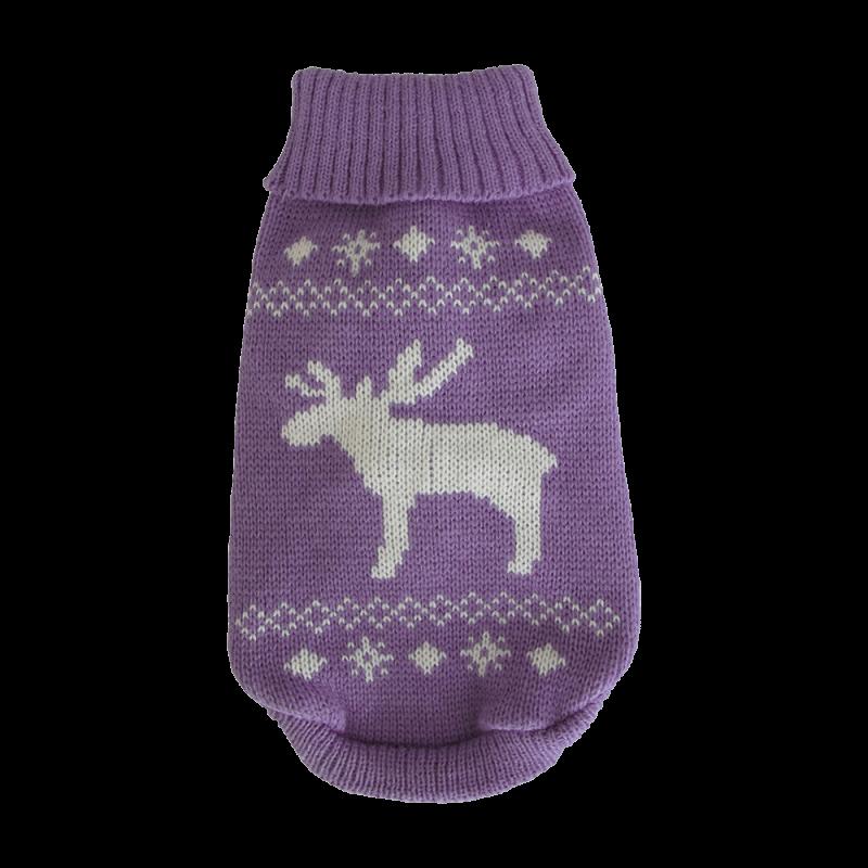 Wolters | Strickpullover Elch in Lavendel/Weiß
