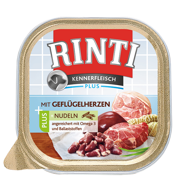 Rinti | Kennerfleisch Plus mit Geflügelherzen + Nudeln