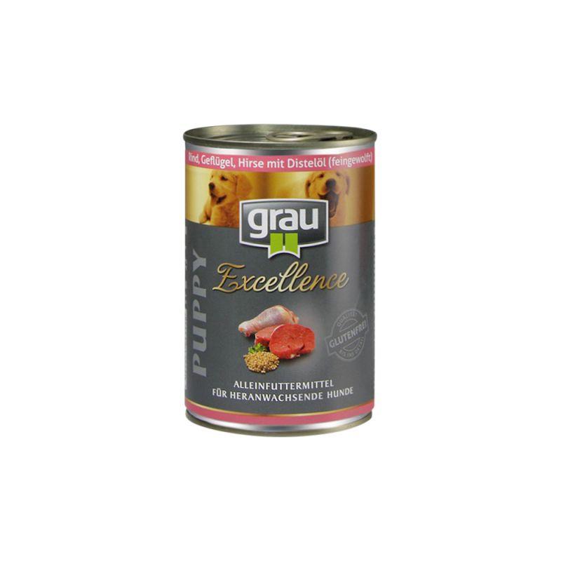 grau | Excellence Puppy Rind, Geflügel, Hirse & Distelöl