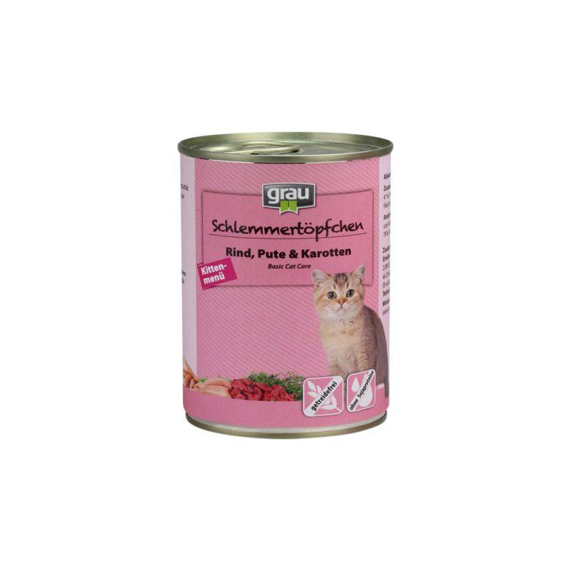 grau | Schlemmertöpfchen Kittenmenü mit Rind, Pute & Karotten