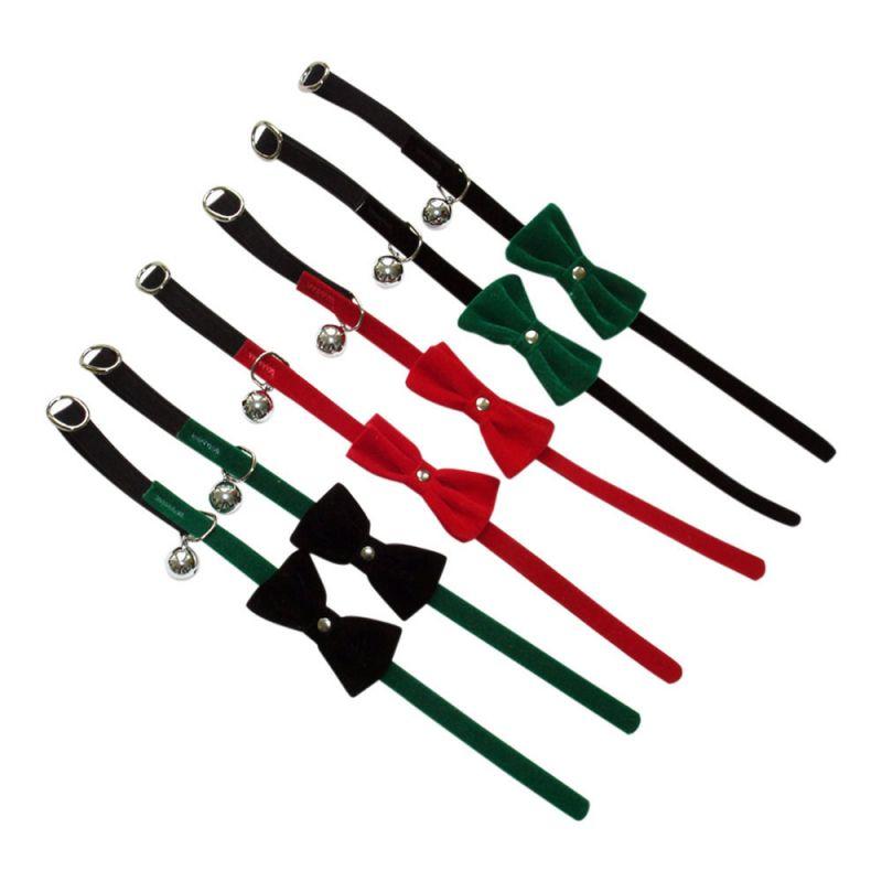 Heim | Katzenhalsband/Samt m.Schleife/Glocke farbig sortiert