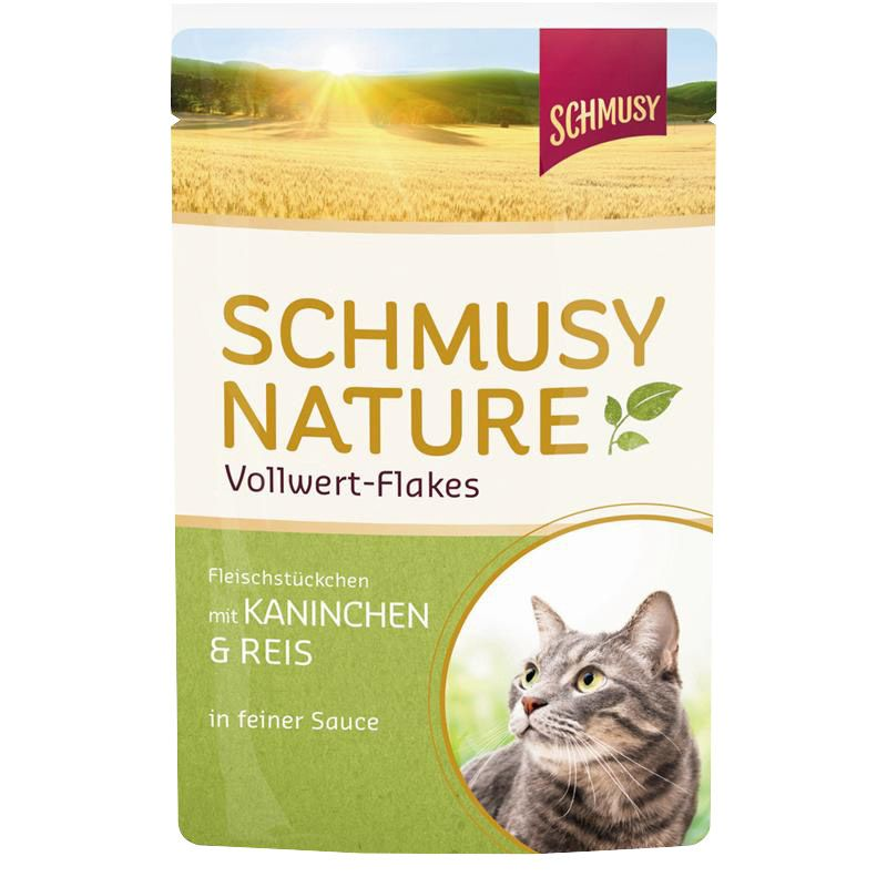 Schmusy   Nature Vollwert-Flakes mit Kaninchen & Reis