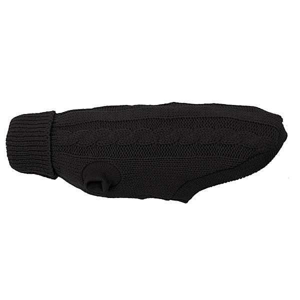 Wolters | Zopf-Strickpullover für Mops&Co in Schwarz