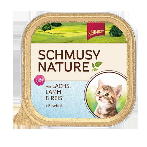 Schmusy   Nature Kitten mit Lachs, Lamm & Reis