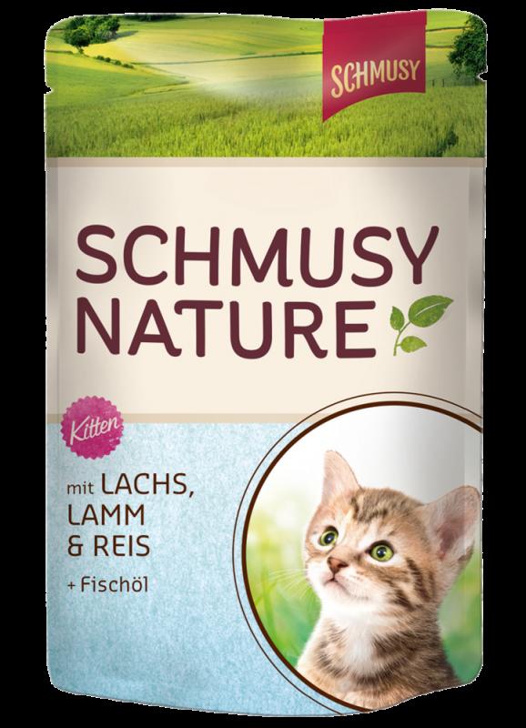 Schmusy | Nature Kitten mit Lachs, Lamm & Reis