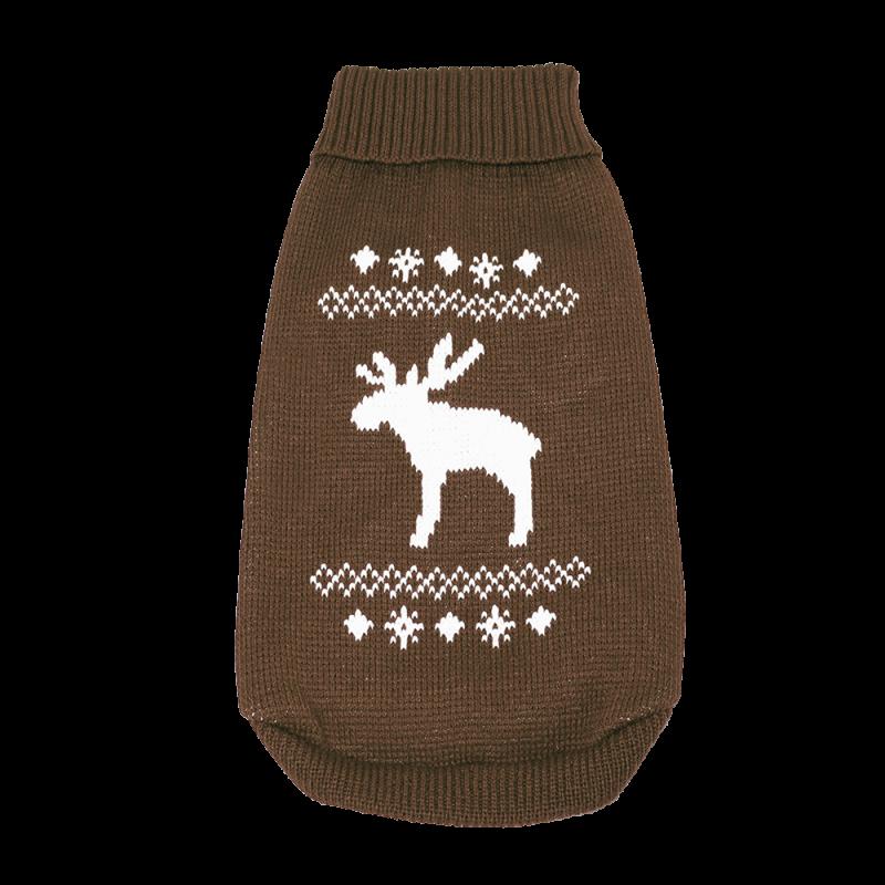 Wolters | Strickpullover mit Elch für Mops&Co in Braun/Weiß