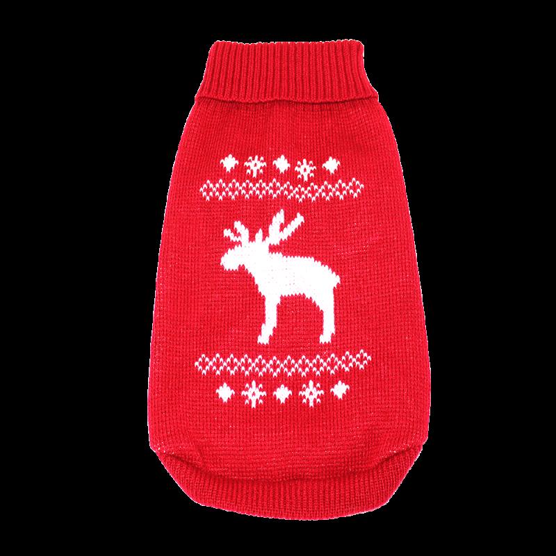Wolters | Strickpullover mit Elch für Mops&Co in Rot/Weiß