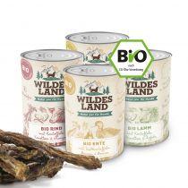Wildes Land | Bio Nassfutter Sparpaket | 24 x 400 g + Snack 150 g