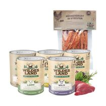 Wildes Land | Nassfutter Sparpaket | 24 x 800 g + Snack 250 g