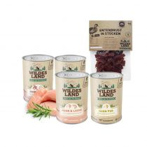 Wildes Land | Nassfutter Sparpaket | 24 x 400 g + Snack 70 g