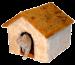 SILVIO DESIGN | Katzenhaus mit Plüschdach beige-honig | Plüsch,braun 1