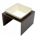Replus | Futterstation Meshidai Einzelnapf in Tabac | Keramik,Holz,braun,weiß 1