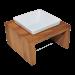 Replus   Futterstation Meshidai Einzelnapf Teak   Holz,Keramik,braun,weiß 1