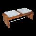 Replus | Futterstation Meshidai Doppelnapf Teak | Holz,Keramik,braun,weiß 1