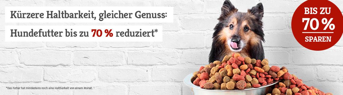 Hundefutter bis zu 70% reduziert