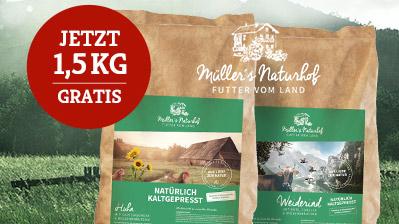 Müllers Naturhof Sale 1,5 kg Trockenfutter gratis