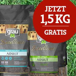 grau Trockenfutter Sale - 1,5 kg gratis