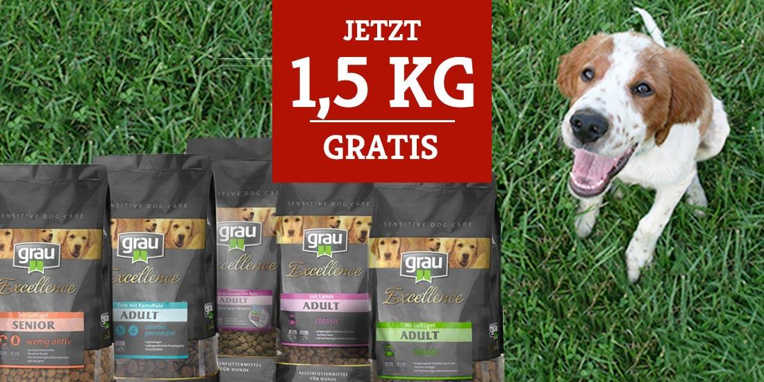 grau Trockenfutter 1,5 kg gratis