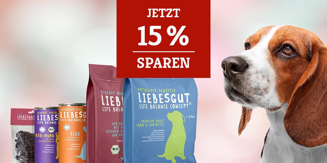 Liebesgut Hundefutter 15% Rabatt Aktion