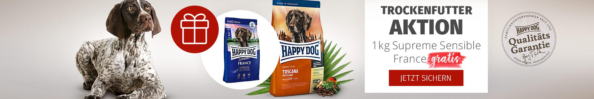 Trockenfutter Aktion für Hunde - Kleiner Sack Happy Dog France geschenkt